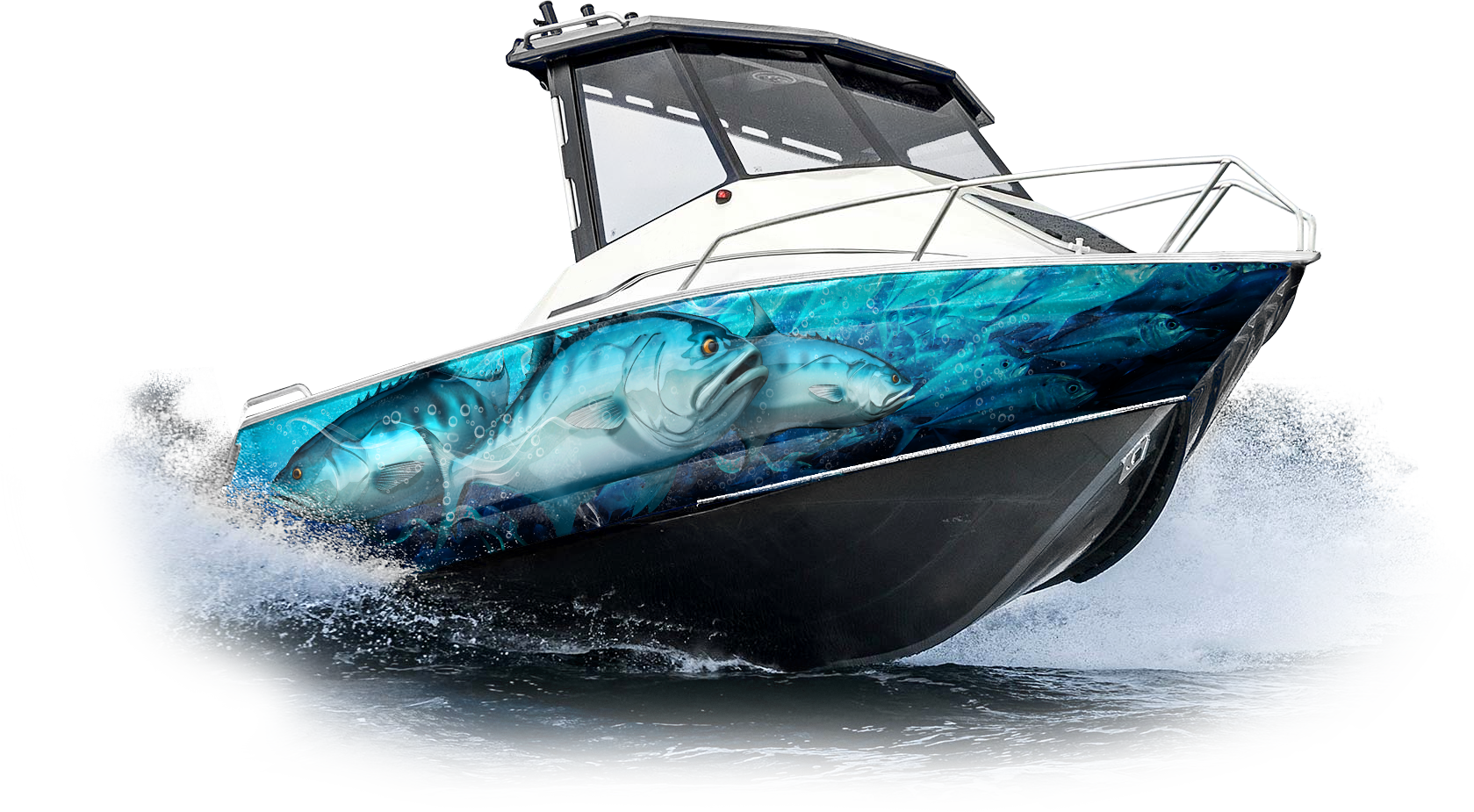 queenfish boat wrap